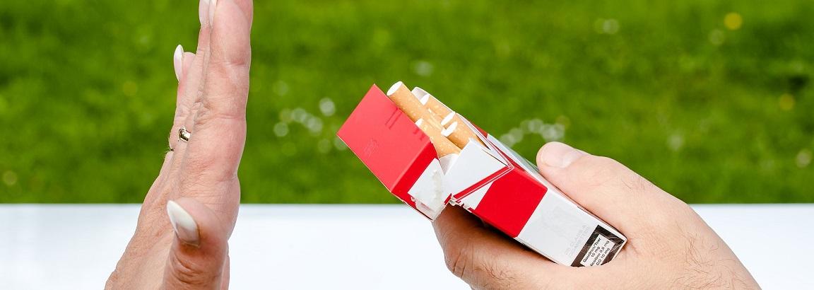 Someone refusing a cigarette